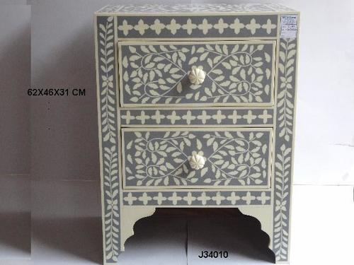 Bone Inlay Side Table Square