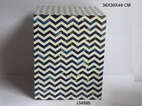 Resin Inlay Chevron Stool