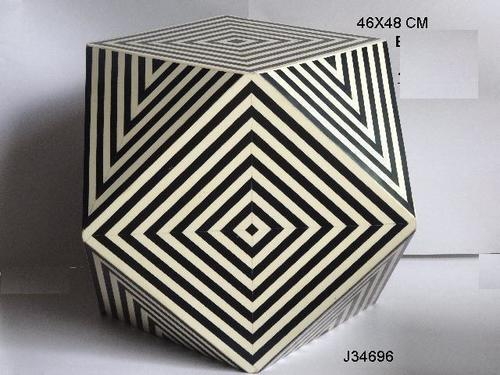 Resin  Inlay Stool Geometric Pattern