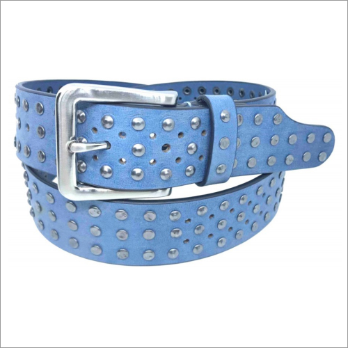 Genuine  Sky Blue Leather Ladies Belt