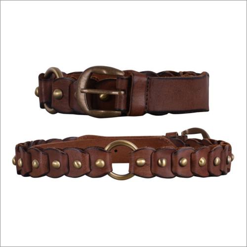 Genuine  Brown Leather Ladies Belt