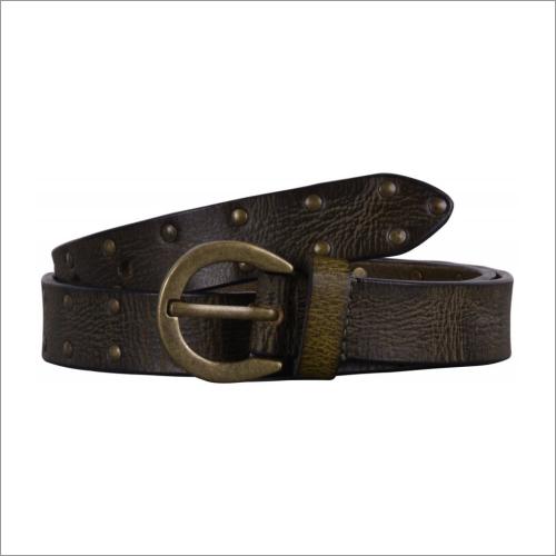 Genuine Olive Leather Mens Belt