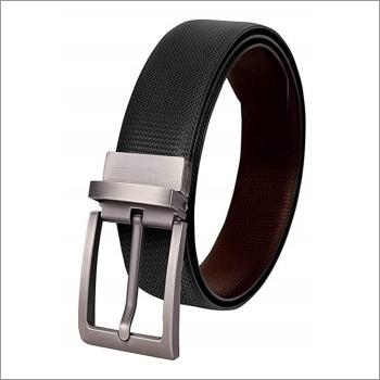 Genuine  Black With Print Leather Mens Belt