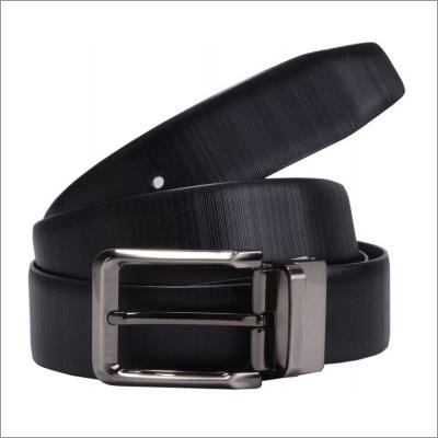 Genuine Black Plain Leather Mens Belt