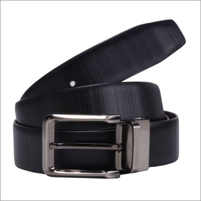 Genuine Black With Print Leather Mens Belt