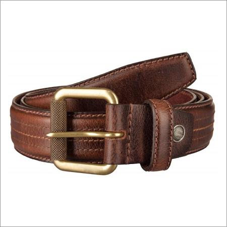 Genuine Beige Leather Mens Belt