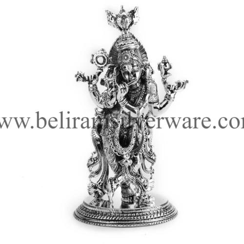Intricately Carved Radha Krishna Silver Idols
