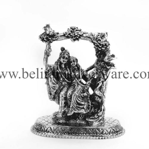 Radha Krishna Silver Murti On Jhula
