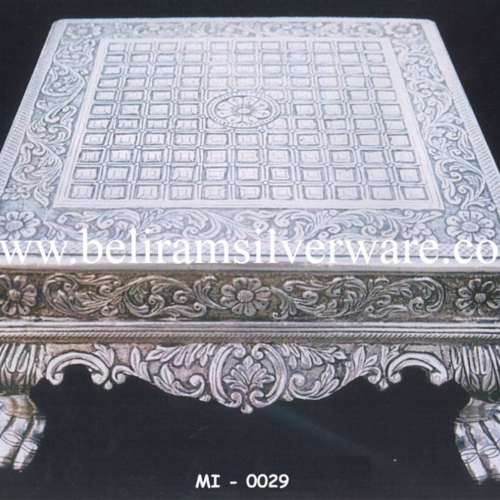 Square Design Intricately Carved Silver Chowki
