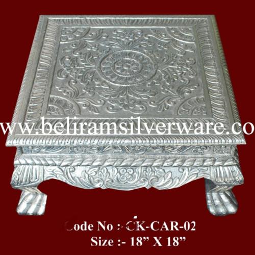 Royal Flower Design Silver Chowki