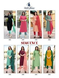 Sequence 14 kg Rayon Embroidery with Khatli Work Kurtis 3 Pics