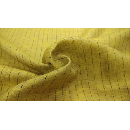 Yellow Check Linen Shirting Fabric