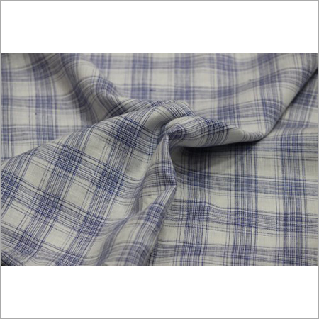 58 Inch Check Linen Shirting Fabric