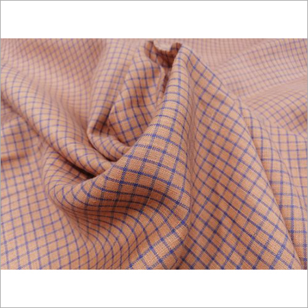 Peach Color Check Linen Shirting Fabric