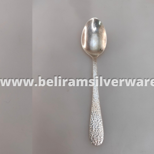 Hammered Handle Silver Spoon