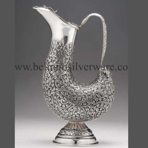 Unique Shape Nakshi Design Silver Jug