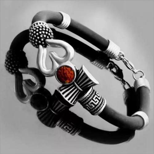 Silicone Om Darmu Silver Bracelet