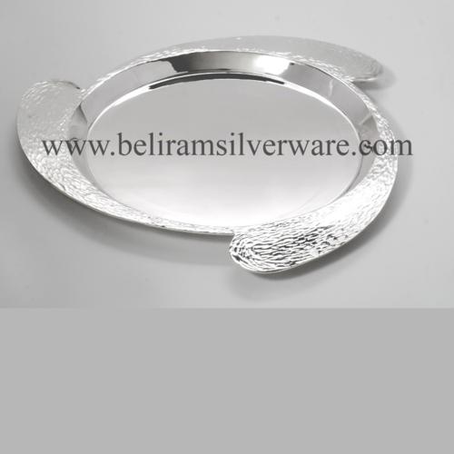 Circular Hammered Texture Silver Platter