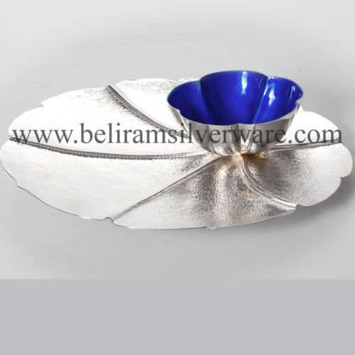Scalloped Leaf Silver Platter With Blue Bowl
