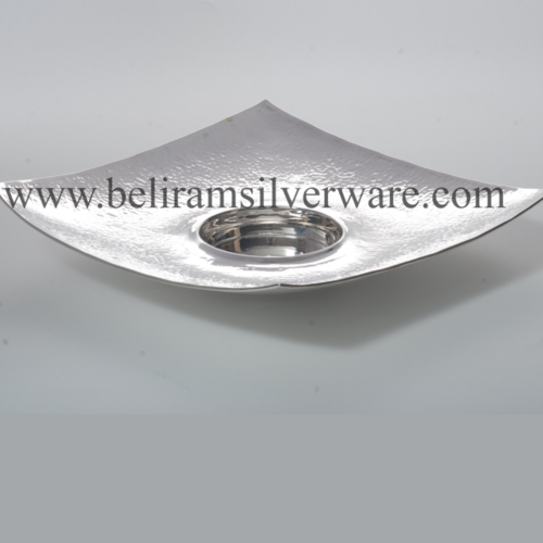 Curved Hammered Texture Square Silver Platter