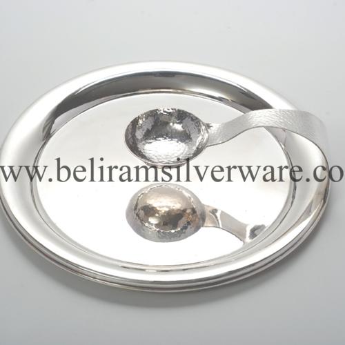 Circular Silver Platter With Inbuilt Bowl