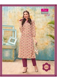 Forever Vol 4 Rayon With Fancy Embroidery Work Kurti With Pant Pair