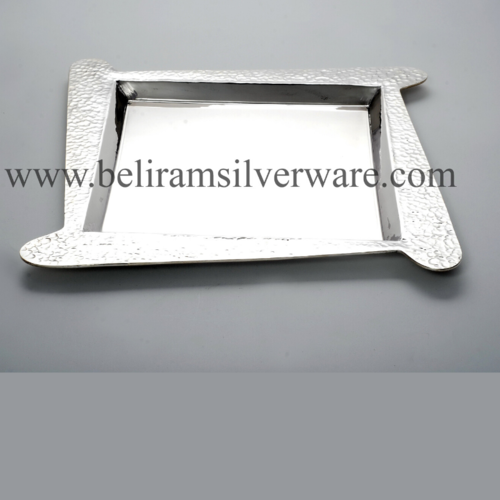 Hammered Texture Extended Border Silver Platter