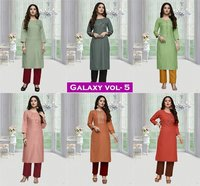 Galaxy Vol-5 Women Ethnic Cotton Long Kurtis
