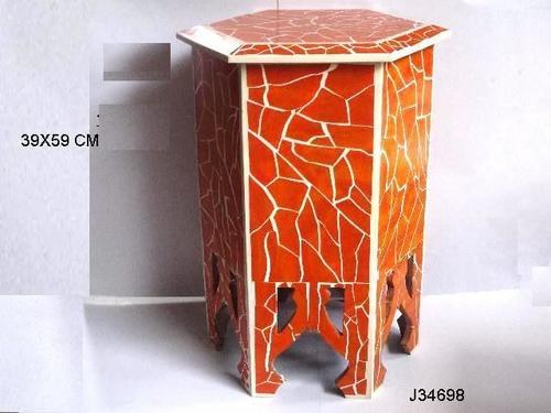 Resin Inlay Side Table Hexagon Pattern