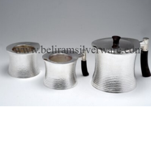 Dotted Hammered Texture Concave Silver Tea Set