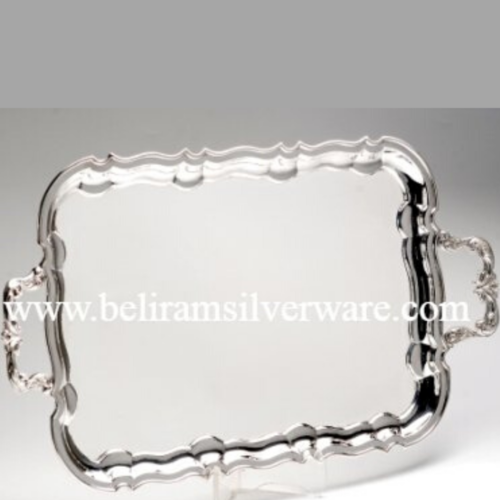 Scalloped Border Rectangular Silver Tray