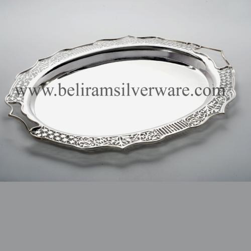 Nakshi Jali Border Oval Silver Tray