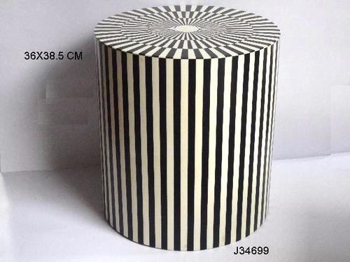 Resin Inlay Stool With Black And White Pattern