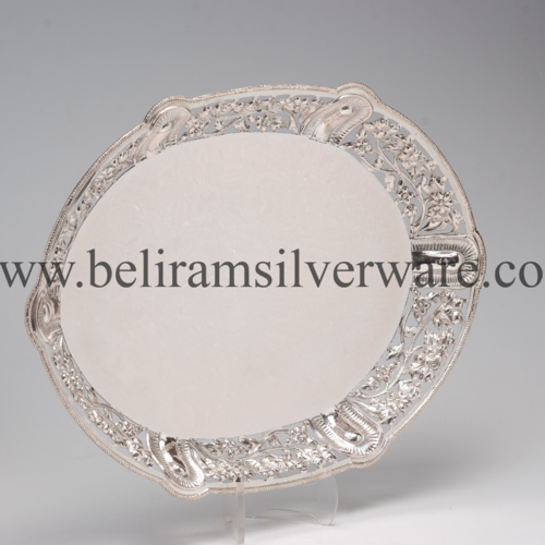 Intricate Border Silver Tray
