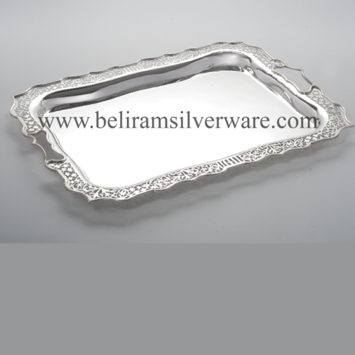 Scalloped Border Cutwork Silver Tray