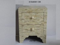 Bone Inlay Side Table With Drawl