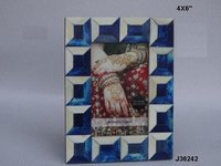 Bone Inlay Photo Frame Blue And White