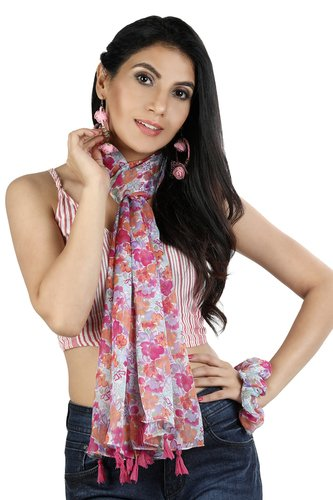 As Per Pic Poly Crinkeld Chiffon With Fringes Scarves