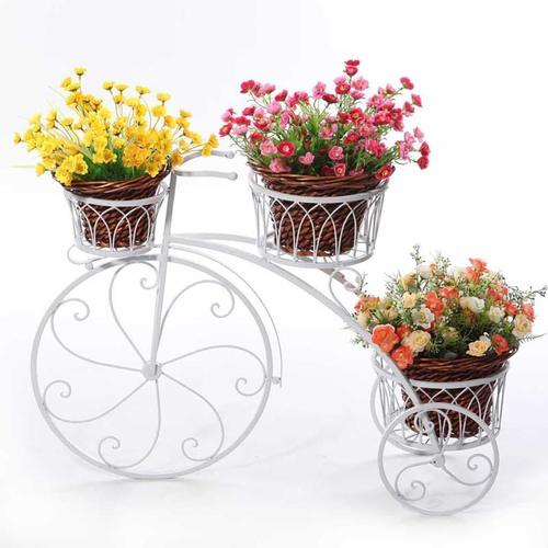3-Tier Garden Cart Planter Stand Tricycle Plant Holder - Planter Holder- Ideal for Home, Garden, Patio - Great Gift for Plant Lovers, Housewarming 67 X 56 X 20 cm (White)