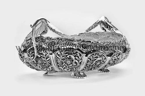 Leaf Handle Nakshi Silver Bowl Centerpiece