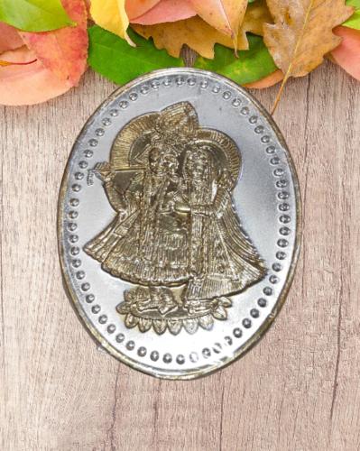 Radha Krishna Oval Silver Coin