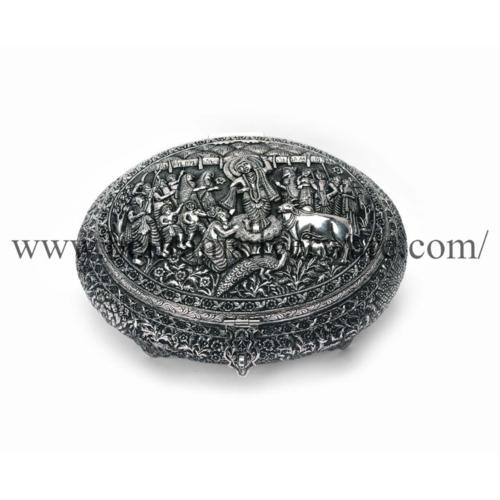 Krishna Govardhan Parvat Leela Nakshi Silver Box