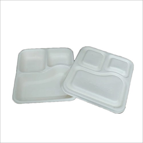 3 Compartment Sugarcane Bagasse Plate