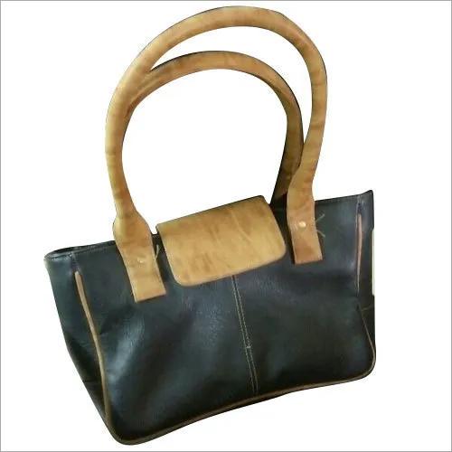 Ladies Leather Rectangle Black Shoulder Bag