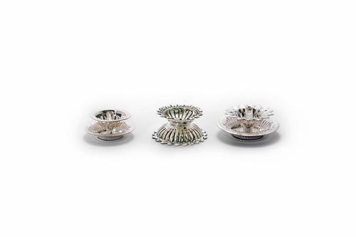 Flower Pattern Silver Diya Set Of 3