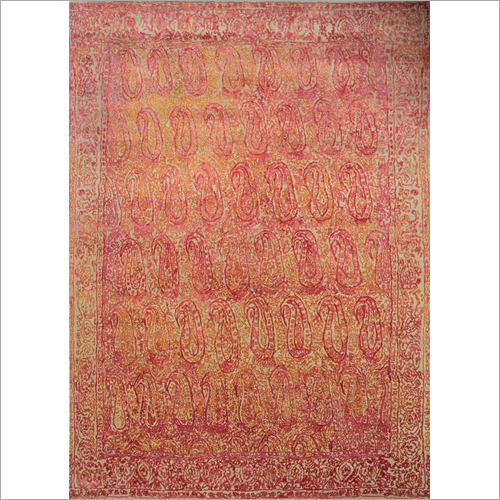 Hand Knotted Wool and Silk Rug