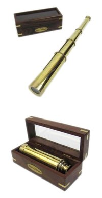14 Inch Telescope Full Brass W/Box Captain Telescope with Box Top Glass Boxed Telescope