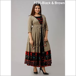 Nehamta Black Color Rayon Straight Kurta with Metallic Brown Cotton Flared Jacket