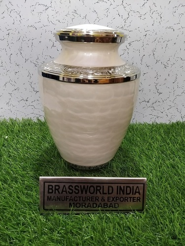Brass White Engraved Adult Urn Funeral