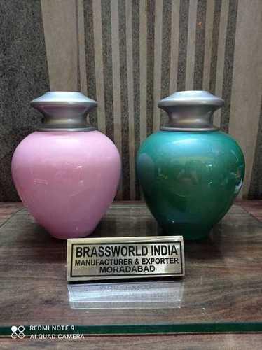 Brass Satori Pink / Green Cremation Urn Funeral